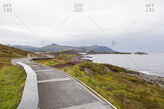 A man made walkway along a fjord in norway