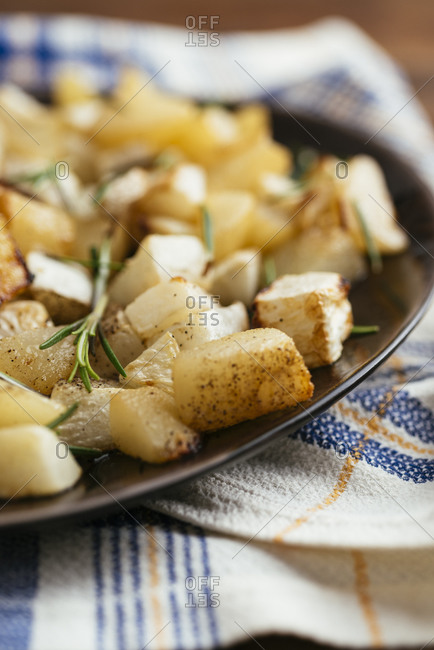 Side dish with roasted turnips and pears
