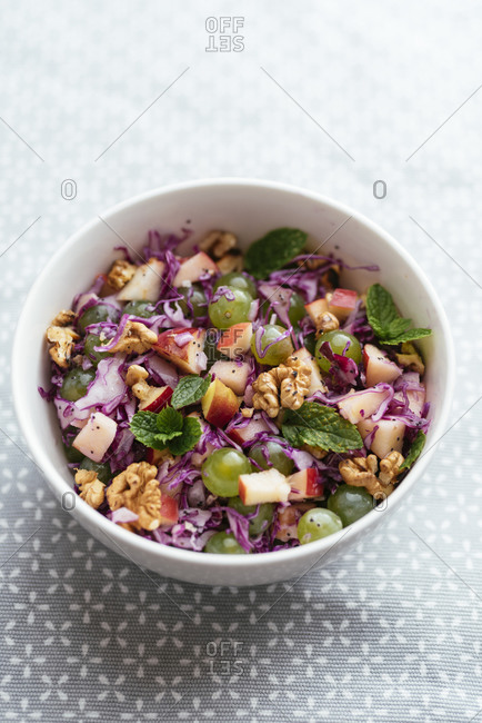 Red Cabbage Waldorf with Minty Poppy-seed Dressing