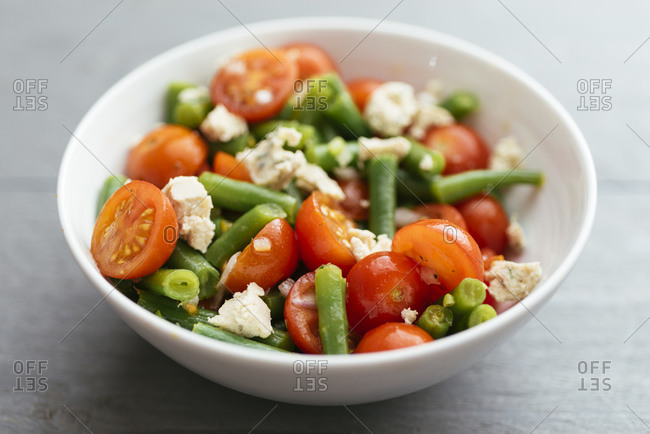 Bowl with a Green Bean and Cherry Tomato Salad with Vegan Feta Cheese