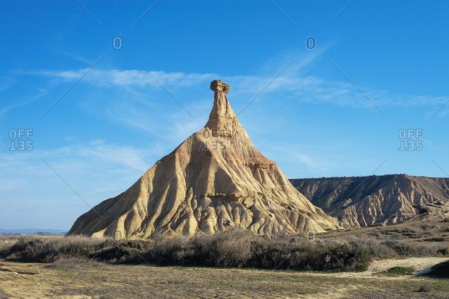 Castelditierra mountain in bardenas reales nature park, navarra, spain