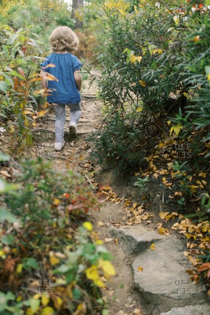 Little girl climbing up a hidden pathway in fall