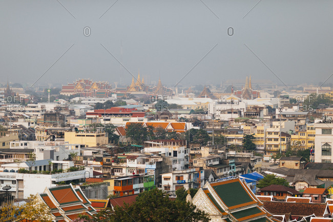 Bangkok, Thailand - January 23, 2018: A view over the city of Bangkok with the Grand Palace in the distance