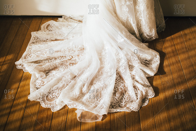 A bride's dress in the late afternoon sun