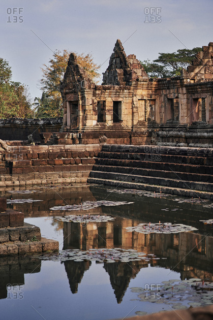 A reflecting pond on the grounds of the ancient Khmer temple, Prasat Muang Tam, in Buriram Province, in northeastern Thailand