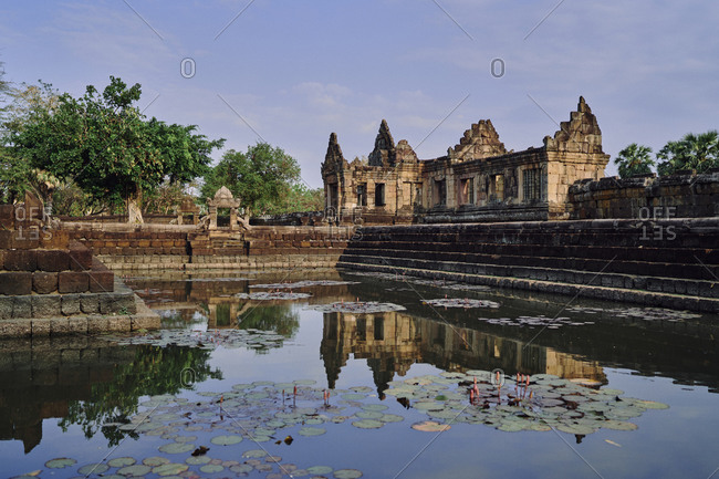 The ancient Khmer temple, Prasat Muang Tam and pond in Buriram Province, in northeastern Thailand