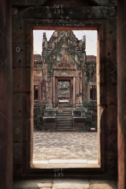 A series of doorways at the ancient Khmer temple Prasat Muang Tam, in Buriram Province, in northeastern Thailand