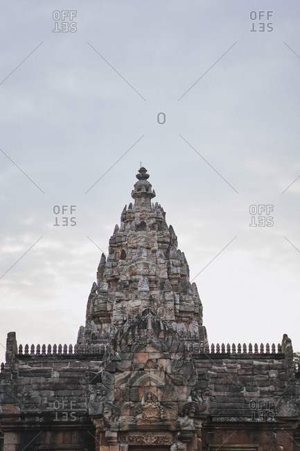View of the main tower at Phanom Rung, a Hindu Khmer Empire temple complex set on the rim of an extinct volcano in Buriram Province, Thailand