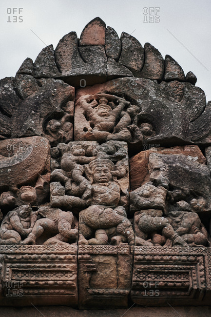 Khmer carvings on an arched doorway at Phanom Rung temple in Buriram Province in northeastern Thailand