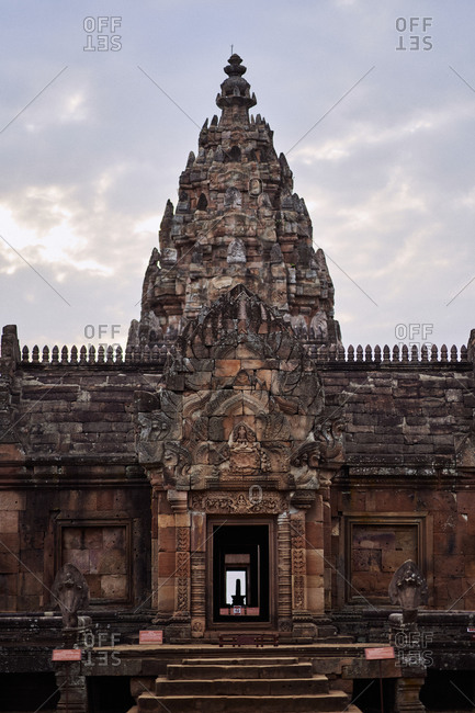 The main tower at Phanom Rung, a Hindu Khmer Empire temple complex set on the rim of an extinct volcano in Buriram Province, Thailand