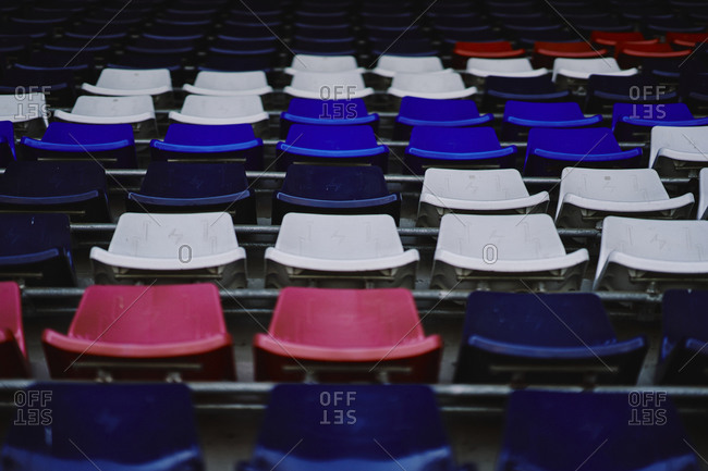 Stadium seats in the colors of Thailand's flag at the Buriram International Circuit in Thailand