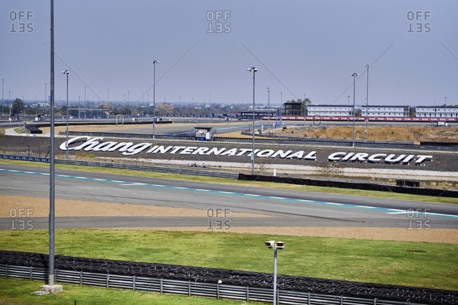 Buriram, Thailand - February 19, 2020: The speedway at the Buriram International Circuit in northeastern Thailand