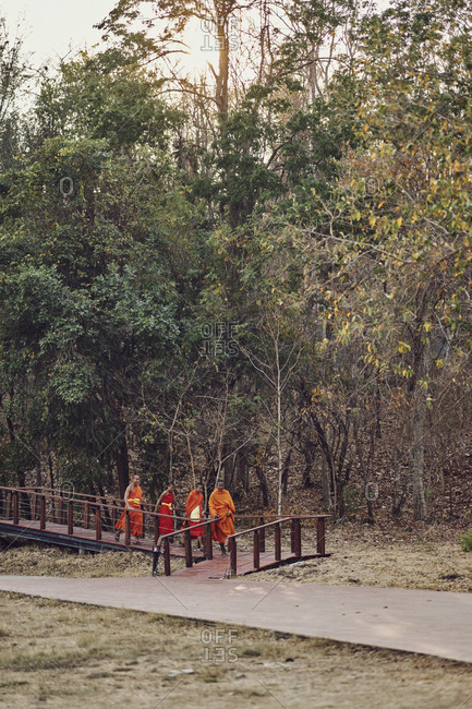 Buriram, Thailand - February 19, 2020: A group of novice monks on the grounds of Khao Kradong Forest Park