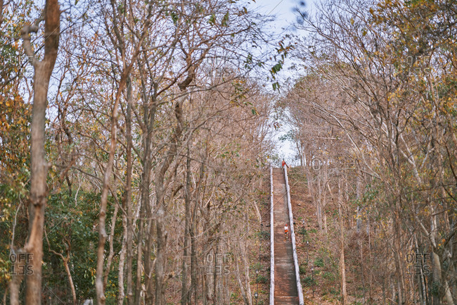 Buriram, Thailand - February 19, 2020: A steep staircase to the top of Khao Kradong Forest Park
