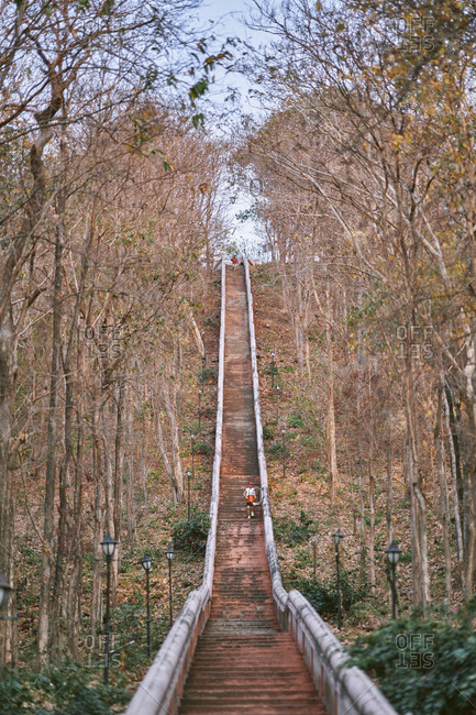 Buriram, Thailand - February 19, 2020: A steep staircase in the woods leading to the top of Khao Kradong Forest Park
