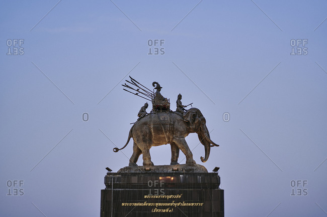 Buriram, Thailand - February 20, 2020: The King Rama I monument in Buriram