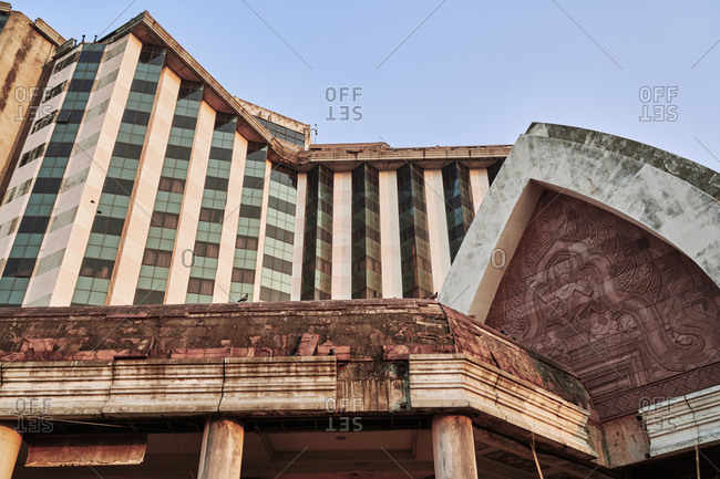 The abandoned Sang Rung hotel, with Khmer design influences, in Buriram, Thailand