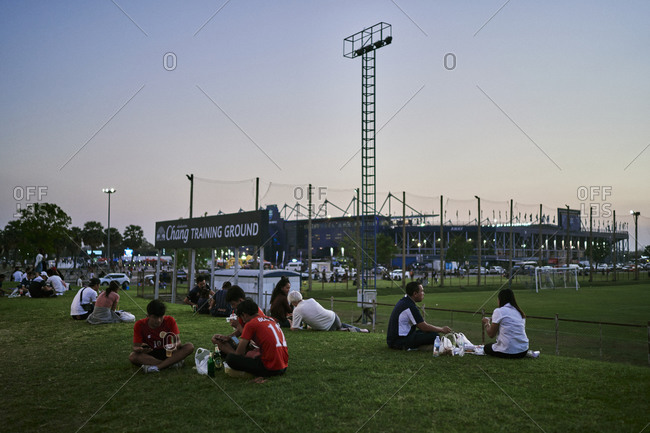Buriram, Thailand - February 22, 2020: Families picnic on the grounds of Chang Arena before a showdown between Buriram United and Chonburi in northeastern Thailand