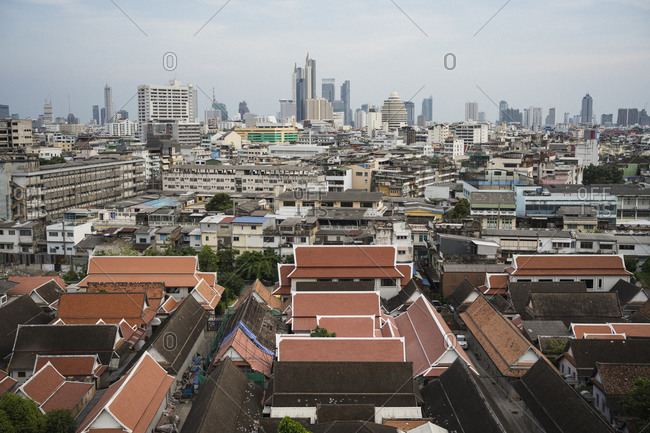 Bird's eye view over the old town of Bangkok, Thailand