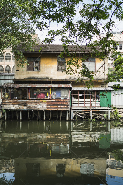 A house along a small canal in Bangkok's old town, Thailand