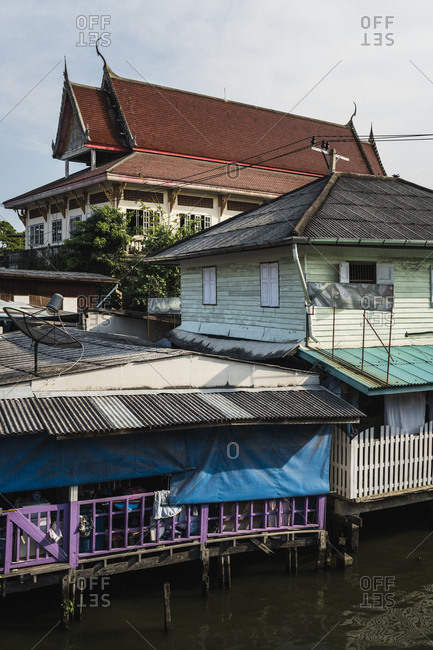 Houses along the Chao Phraya river and its waterways in Bangkok, Thailand
