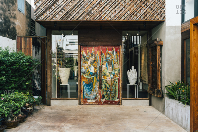 Bangkok, Thailand - April 20, 2019: The entrance to art gallery ATT19 in Bangkok's old town