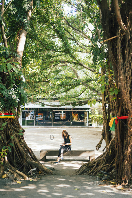 Bangkok, Thailand - April 18, 2019: A young woman reads a book on a bench between trees at Jam Factory