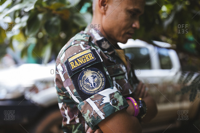 Thailand - May 25, 2018: A member of the rapid response ranger unit near the Dong Phayayen-Khao Yai (DPKY) Forest Corridor in central Thailand