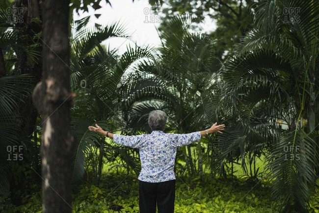 An elderly woman practices Tai Chi in Lumpini Park in Bangkok, Thailand