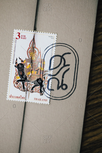 Bangkok, Thailand - December 12, 2018: Menu and logo with Thai script and stamp at Sorn restaurant