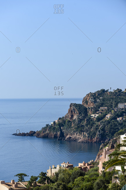 Seascape overlooking Mediterranean sea and Massif de l'Esterel mountain in France