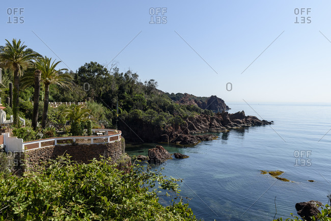 Saint-Raphael, France - April 20, 2018: Hotel and terraces overlooking Mediterranean Sea