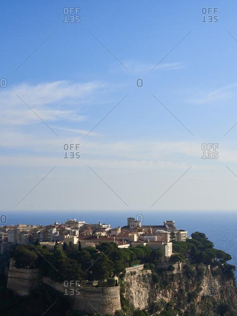 Cityscape of Le Rocher of Monaco in Monaco city with Mediterranean Sea in the distance