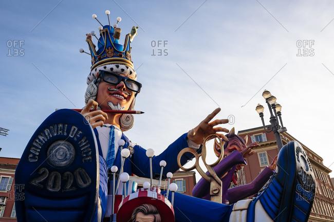 Nice, France - February 21, 2020: Big heads King of Carnival de Nice 2020 on the Place Massena