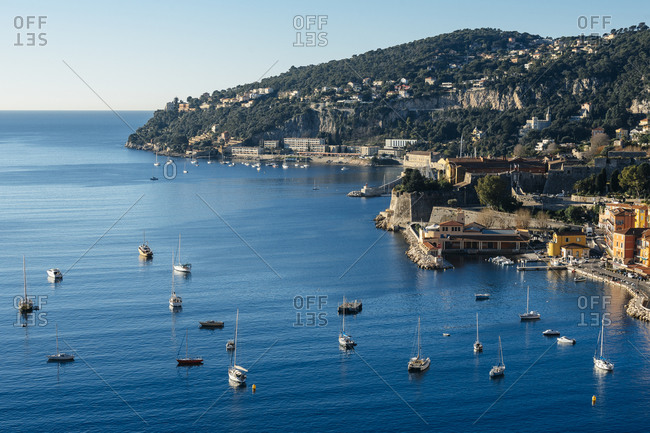 View of the bay and the harbor of Villefranche-sur-Mer and Cap de Nice, France