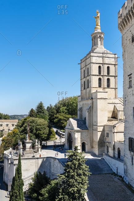 View of the Notre Dame des Doms d'Avignon Cathedral in Avignon, France