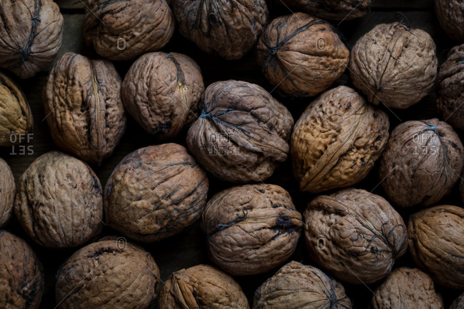 Full frame image of raw walnut in shell on dark background