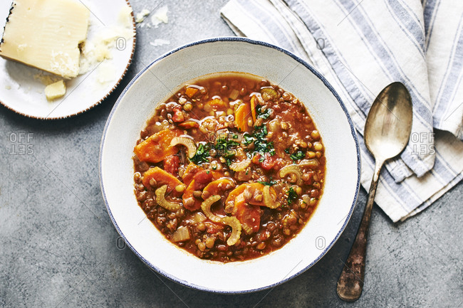 Hearty lentil soup viewed from above