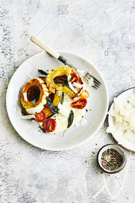 Overhead view of autumn roasted vegetables served on a plate