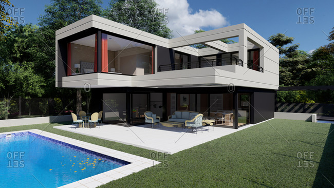 Exterior of contemporary house with geometric design and swimming pool in green yard with tropical plants