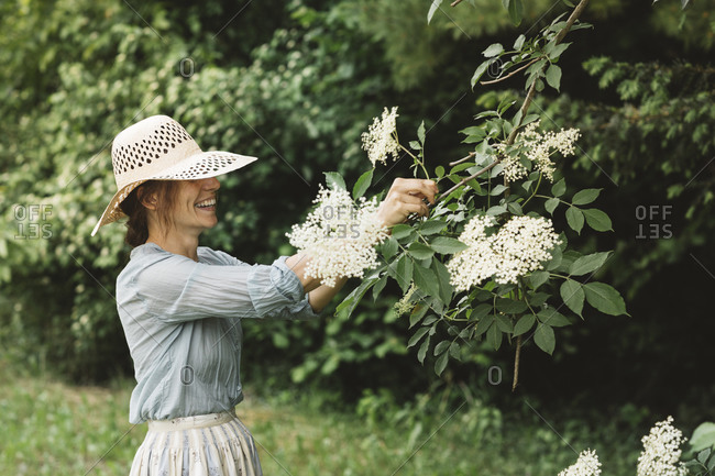 Smiling woman picking flower from flowering plant while standing in garden