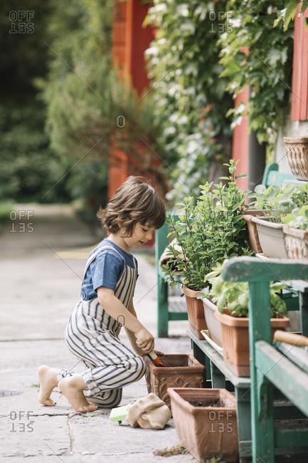 Cute boy gardening while sitting at backyard