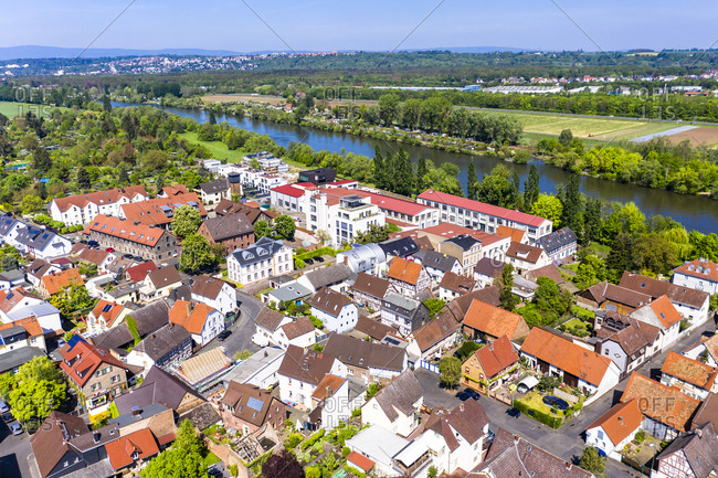 April 30, 2019: Germany- Hesse- Offenbach am Main- Helicopter view of old town on bank of river Main in summer