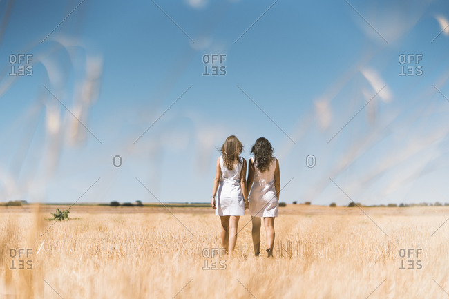 Couple holding hands while walking on agricultural field