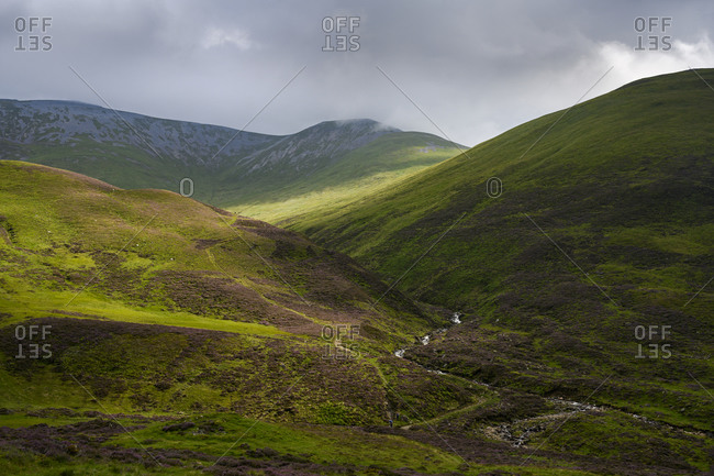 Green hilly landscape of Cairngorms National Park