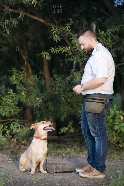 Mid adult man standing with pet dog in public park