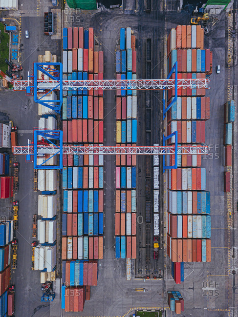 Russia- Primorsky Krai- Vladivostok- Aerial view of cargo containers in commercial dock