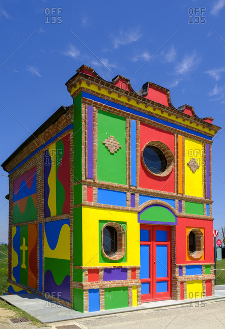 Italy- Province of Cuneo- Barolo- Colorful facade of Chapel of Barolo