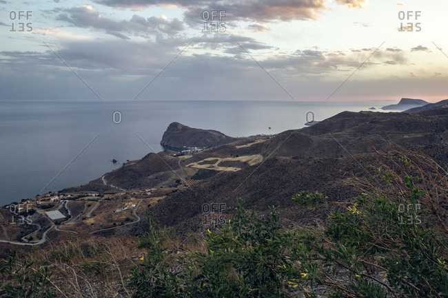 Greece- Crete- Lentas- View from coastal hills at dusk