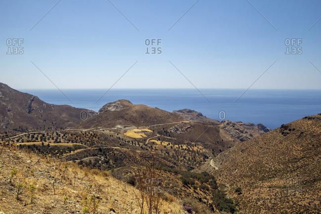 Greece- Crete- Lentas- Brown coastal landscape in summer